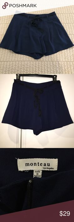 Monteau Navy Blue Belted Festival Shorts Small Like new Monteau Shorts
