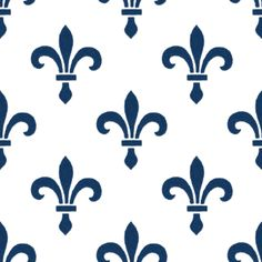 14th Century Fleur De Lys ~ Lonely Angel Blue and White  fabric by peacoquettedesigns on Spoonflower - custom fabric