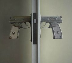 The Bang Bang Handle is a concept designed by Nikita Kovalev that replaces the traditional door knob with the handle of a pistol. I think it& cause a pote Knobs And Knockers, Door Knobs, Door Handles, Door Pulls, Door Latches, Porte Design, Deco Design, Design Design, Hand Guns