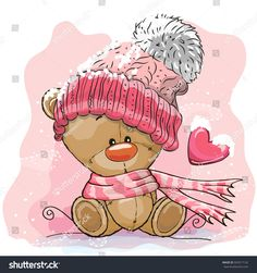 Cute Cartoon Teddy Bear Girl with bird and butterflies on a pink. Cartoon Cartoon, Cute Cartoon Animals, Cute Animals, Teddy Bear Cartoon, Tatty Teddy, Cartoon Mignon, Teddy Girl, Knitted Teddy Bear, Bear Girl