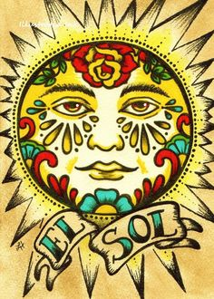 Mexican Folk Art Prints Sun Moon Loteria El SOL by illustratedink Art Soleil, Tattoo Modern, Diy Bordados, Desenhos Old School, Los Muertos Tattoo, Tattoo Mond, Loteria Cards, Kunst Tattoos, Chicano Tattoos