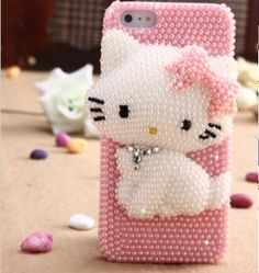 Anyone taking this Charmmy Kitty home? Pink and adorable kitty *kiss* Handmade iphone 5 case iphone 4S case iphone 4 by FancyandArt, $25.00