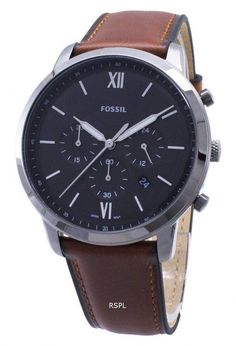 Features: Stainless Steel Case Leather Strap Quartz Movement Mineral Crystal Black Dial Analog Display Chronograph Function Hours Display Luminous Hands And Markers Date Display Pull/Push Crown Solid Case Back Buckle Clasp Water Resistance White Watches For Men, Black Leather Watch, Fossil Watches, Watches Online, Sport Watches, Stainless Steel Case, Quartz, Markers, Analog Signal