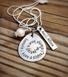 Hand stamped SISTER necklace personalized custom necklace, great for birthdays or Christmas by GabbieGoodies, $28.00