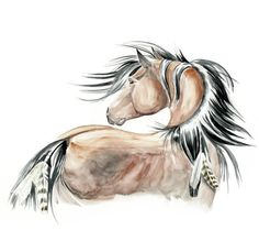 Native American horse tattoo. This would look really good as a pencil sketch type tat.