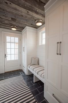 Mudroom Entryway - Shiplap and ceiling treatment by elisahallendesign. Mudroom Laundry Room, Laundry Room Design, Mud Room Lockers, Bench Mudroom, Shiplap Ceiling, Hallway Ceiling, Flur Design, Ceiling Treatments, Home Remodeling