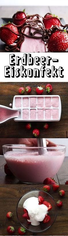 Strawberry ice cream - that& how it Erdbeer-Eiskonfekt – so geht's With this cool light dessert, you& going to be spilling the summer outside your door! Sweet Recipes, Cake Recipes, Dessert Recipes, Food Cakes, Grill Dessert, Strawberry Fluff, Light Desserts, Frozen Fruit, Diy Food