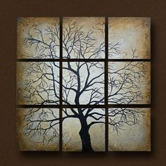 Multiple Canvas Tree Painting -- Original Art Heavily Textured -- 20 x 20 by Britt Hallowell. $150.00, via Etsy.