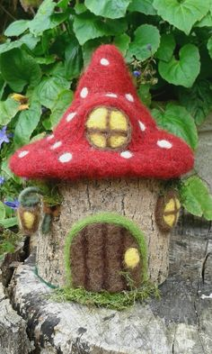 Needle Felted Wooden Fairy House. Fairy Cottage. by FeltbyLisa