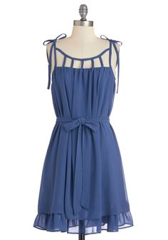 Better Adorable Than a Window Dress. When your roommate encounters you on her way out the door, shell wish she could be seen with the window-like strap details and tied shoulders of your dress by her side. #blue #modcloth