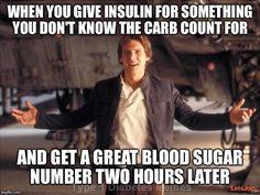 "now watch me walk on water!"" ~type one diabetes memes~ Star Wars Trivia, Star Wars Jokes, Star Wars Facts, Diabetes Memes, Chewbacca, Funny Star Wars Shirts, Meme Shirts, Type One Diabetes, Funny Memes"