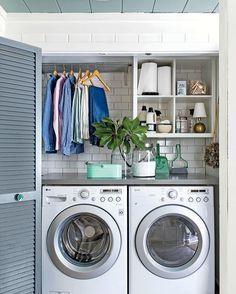 Cutest laundry closet EVER! 📷: @southernlivingmag