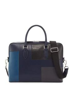 BURBERRY Barrow Slim Patchwork Leather Briefcase, Dark Navy.  burberry  bags   shoulder bags  hand bags  leather  tote  lining  . Michael Stanley · Men s  ... 4790719b91