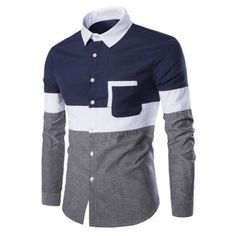 Long Sleeve Casual Panel Shirt - Cadetblue - - Men's Clothing Men's Tops & T-Shirts Men's Shirts # # Mens Shirts Sale, Cool Shirts For Men, Men's Shirts And Tops, Mens Designer Shirts, Men Shirts, Casual Shirts For Men, Shirt Men, African Clothing For Men, African Shirts
