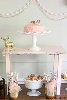 pink and gold deer party