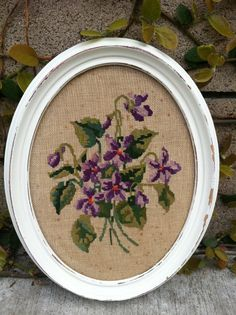 Framed Vintage Needlepoints  Set of 2 Floral by ThePaintedLdy, $27.50