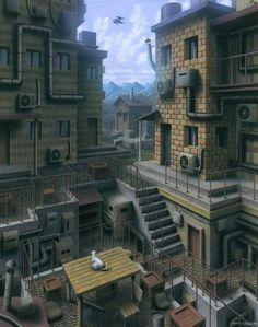 Airbrush Paintings of Imaginary Buildings by Ryota Nishioka | Hi-Fructose Magazine