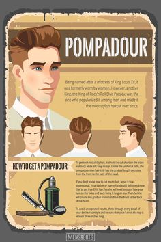 Pompadour hairstyle will never lose its relevance. Bring your haircut to the whole new level adding a bit of the royal style to it! Haircut For Face Shape, Face Shape Hairstyles, Cool Hairstyles For Men, Haircuts For Men, Mens Hairstyles Pompadour, Pompadour Men, Men's Hairstyles, Medium Hairstyles, Wedding Hairstyles