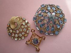 3 Vintage Rhinestone Brooches by WhitebirdArtiques on Etsy 24.00