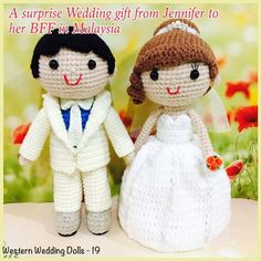Crochet wedding dolls by jncrochets. (Inspiration).