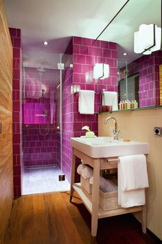 Would love this bathroom...but not necessarily pink, unless it was mood lighting that changed colors