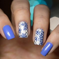 piCture pOlish 'Swagger, Midnite Meteor + Bright White' stamped snowflake nails by LakkomLakkom LOVE thanks Edina! www.picturepolish.com.au