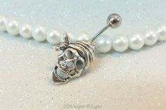 Cute pirate skull belly button jewelry ring 14 gauge 12mm ball | YOUniqueDZigns - Jewelry on ArtFire
