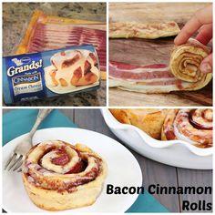"Bacon Cinnamon Rolls and more ""food hacks."" The best ones involve bacon. Isn't that true of life in general? Bacon Cinnamon Rolls, Cinnamon Twists, Maple Bacon, Food Porn, Lard, Creative Food, Food Hacks, Snack Hacks, Love Food"