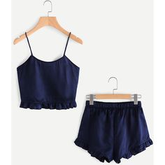 SheIn(sheinside) Frill Trim Cami And Shorts Pajama Set (760 RUB) ❤ liked on Polyvore featuring intimates, sleepwear, pajamas, navy, summer pjs, navy blue camisole, ruffle cami, camisole sleepwear and navy cami