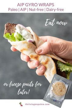 AIP Gryo Wrap Sandwich Recipe (with Tzatziki Sauce Autoimmune Paleo AIP diet Gyro Wrap Sandwich Recipe portable lunch option easy to freeze components for a quick meal delicious Greek recipe! Source by cocoonapothecary Tzatziki Sauce, Salsa Tzatziki, Good Healthy Recipes, Healthy Foods To Eat, Quick Recipes, Healthy Eating, Diet Foods, Dieta Aip, Paleo Autoinmune