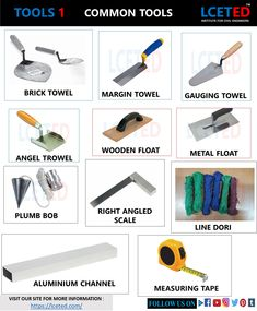 In this article you can know all about mason tools using in masonry works.it helps you guide to buy mason tools Civil Engineering Handbook, Civil Engineering Works, Civil Engineering Construction, Engineering Tools, Brick Construction, Construction Materials, Chemical Engineering, Pvc Pipe Fittings, Types Of Bricks