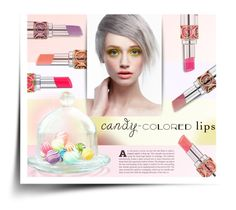 """""""Candy Colored YSL"""" by kiki-bi ❤ liked on Polyvore featuring beauty, Yves Saint Laurent, beautyset, Candycolors and candycoloredlips"""
