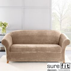 This knit sofa slipcover looks and feels luxuriously comfortable. The fabric's thick, ultra-soft pile creates a cozy oasis within any style room and the high spandex content helps it maintain shape and contour to your furniture for a custom-like fit.