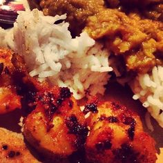 Fried Prawns with Dal Rice