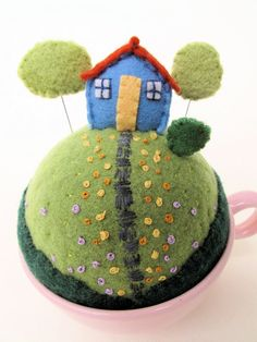 tiny world pincushion  --  beyond cute and very charming, Pattern is sold on Etsy