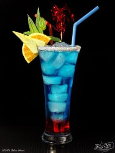 Blue Moon Gin Curacao blue Strawberry syrup Lemon juice Soda to refill  Mix gin, curacao, lemon juice and pour into a glass with syrup and ice, refill with soda, decorate and serve.