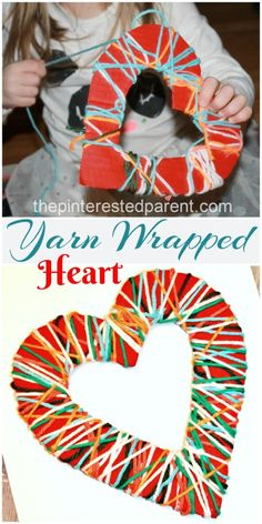 Yarn Wrapped Valentine's Hearts - A great fine motor craft & activity for the kids