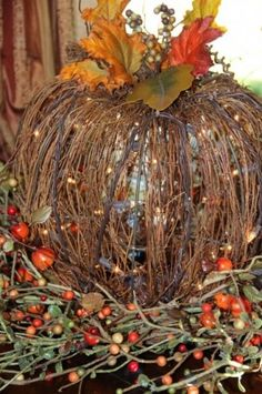 This beautiful grapevine pumpkin sitting in a wreath of berries really says Fall! Autumn Home, Fall Decorations, Pumpkin Lights, Light Up Pumpkins, Fall Halloween, Halloween Table, Wreaths, Vine Wreath, Pumpkin Centerpieces