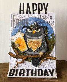 Birthday Cards, Happy Birthday, Ranger Ink, Tim Holtz, Die Cutting, Happy Hour, Handmade Cards, Owls, Paper Crafts