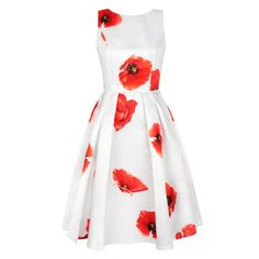 Sleeveless Floral Dress in Red and White - Dress Lily