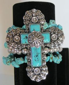 cowgirl bling ! WOW! southwestern Spanish style CROSS concho designs faux turquoise stretch bracelet STUNNING! BAHA RANCH WESTERN WEAR ebay seller id  SOLOEDITION