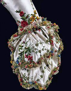 Sleeve cuff from Marie Antoinette's Dress, 1780. (Sorry, I just saw this on the internet and that was the tag line it had. Somebody says it is actually a sleeve from a British gown in the collection...