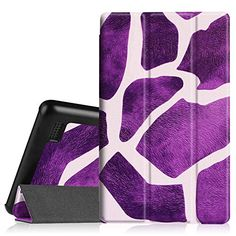 Fire Tablet Accessories  Fintie SlimShell Case for Fire 7 2015  Ultra Slim Lightweight Standing Cover for Amazon Fire 7 Tablet will only fit Fire 7 Display 5th Generation  2015 release Giraffe Purple *** Locate the offer simply by clicking the VISIT button