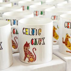Cat mug with unique bespoke design, inspired by early medieval art. Cat Coffee Mug, Cat Mug, Cat Design, Your Design, Cat Lover Gifts, Cat Lovers, Celtic Art, Medieval Art, Bespoke Design