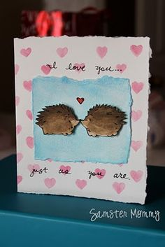 cute valentine card hedgehogs :)