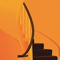 Illustration of a staircase in a house