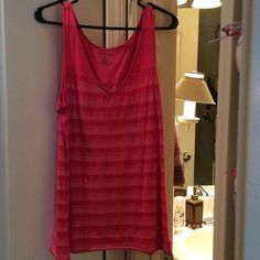 "Pink Candy 🍬 Stripe Tank Three shades of pink in the stripes.  Arm holes are like a regular tank fit.  See 2nd picture.  Measurement for bust is 18"" across. Tops Tank Tops"