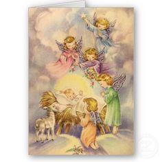 Baby angels greeting baby Jesus