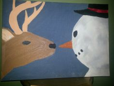 Oil painting : deer going to eat the snowman's nose. My student painted this!