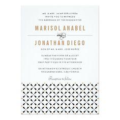 Mexican Tile Neutral Modern Wedding Invitation
